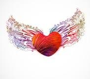 Абстрактное сердце с крылами. Вектор, EPS 10 Стоковые Изображения RF