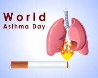 世界哮喘与香烟肺的天背景和在蓝色背景的时髦的文本导航eps 10 免版税图库摄影