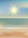 海滩和热带海有明亮的太阳的 10 eps 免版税库存照片
