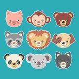 逗人喜爱的动物面孔贴纸设置-导航eps8 免版税库存照片