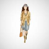 Διανυσματικό κορίτσι σκίτσων στα ενδύματα eps μόδας Στοκ φωτογραφίες με δικαίωμα ελεύθερης χρήσης