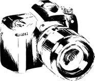 手拉的线艺术照相机剪影/eps 图库摄影