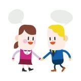 字符例证设计 女孩和男孩谈的动画片, eps 免版税库存图片