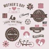 Вектор EPS 10 элементов винтажного дизайна дня матерей графический Стоковые Изображения RF