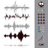 8个背景eps文件包括了音乐集合声波 音频调平器样式 音乐 免版税库存照片