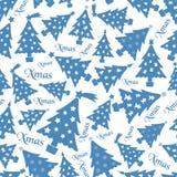 套圣诞节蓝色树装饰白色无缝的样式eps10 免版税库存图片