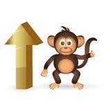 Обезьяна и верхняя часть милого шимпанзе маленькая вверх по метке eps10 Стоковые Изображения