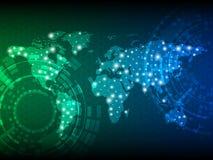 与世界地图的抽象数字技术背景 0 8可用的设计eps模板向量版本 免版税库存照片