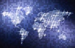 与世界地图的抽象数字技术背景 0 8可用的设计eps模板向量版本 免版税库存图片