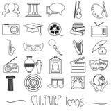 文化和艺术题材黑色简单的概述象设置了eps10 库存照片