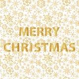 与金子冬天雪花的圣诞快乐仿造eps10 库存照片
