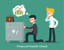 Проверка бизнесмена финансовая или здоровье денег с стетоскопом вектор eps принципиальной схемы 8 дел Стоковая Фотография
