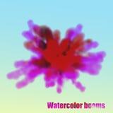 Eps 10 A aquarela da explosão nubla-se em uma luz - fundo azul Fotografia de Stock Royalty Free