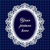 +EPS blaues ovales Spitze-Feld, nahtloser Hintergrund Lizenzfreies Stockbild