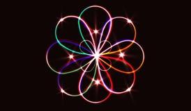 EPS10 Círculos obscuros de néon no movimento Efeito da fuga do redemoinho do vetor Os anéis luminosos abstratos retardam o efeito Foto de Stock