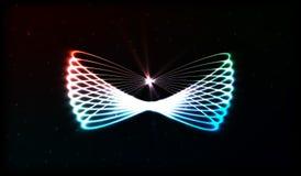 EPS10 Círculos obscuros de néon no movimento Efeito da fuga do redemoinho do vetor Os anéis luminosos abstratos retardam o efeito Fotos de Stock Royalty Free