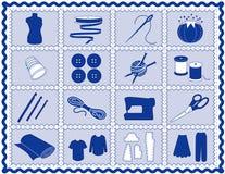+EPS che cucono & icone del mestiere, blu Immagine Stock