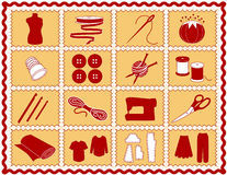 +EPS che cucono & icone del mestiere, cremisi ed oro illustrazione di stock