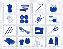 +EPS che cucono & icone del mestiere, Stitchery blu Immagini Stock