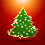 Eps 10 Christmas background with luminous garland. And tree Stock Image