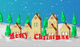 Christmas card. Low polygonal model of houses. The village is in a snow-covered forest. Good New Year spirit Royalty Free Stock Images
