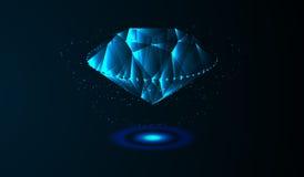 EPS10 Cristal de pedra preciosa em um fundo azul Ilustração futurista Imagens de Stock