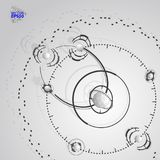 3d engineering technology vector backdrop. Futuristic technical plan, mechanism. Monochrome mechanical scheme, dimensional abstr. EPS10. 3d engineering royalty free illustration