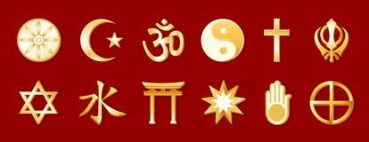 +EPS de Godsdiensten van de wereld, Goud op Karmozijnrood Stock Fotografie