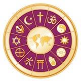 +EPS de Kaart van de wereld, Bol van Geloof, Magenta Stock Foto's