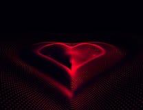 Eps 10 Dia feliz dos Valentim 3D iluminou o coração de néon de partículas e do wireframe de incandescência Ilustração do vetor Fotografia de Stock Royalty Free