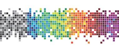 Eps 10 Divertimento e série muito colorida de quadrados ou de pixéis em todas as cores do espectro, de preto ao roxo ilustração royalty free