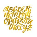 金子手拉的字母表样式 传染媒介Eps10例证dood 库存图片