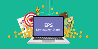 Eps earning per share stock business illustration with laptop and gold money coin goals falling from sky to reflect get Royalty Free Stock Photography