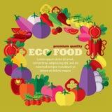 + EPS 10 Eco jedzenie warzywa, koraliny rodzina (,) Obraz Royalty Free
