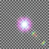 EPS10 Efeito da luz especial do alargamento da lente da luz solar transparente do vetor Foto de Stock Royalty Free