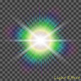 EPS10 Efeito da luz especial do alargamento da lente da luz solar transparente do vetor Fotos de Stock
