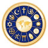 +EPS eine Welt des Glaubens, königliches Blau-Hintergrund Stockbild