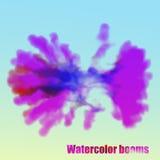 10 eps Explosionvattenfärgen fördunklar på ett ljus - blå bakgrund Arkivbild