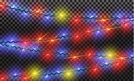EPS10 Festões, efeitos das luzes das decorações do Natal Elementos isolados do projeto do vetor Foto de Stock