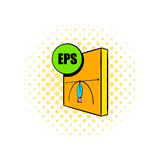 EPS file icon, comics style. EPS file icon in comics style on a white background Stock Photo