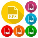 EPS file icons set with long shadow. Vector icon Stock Image