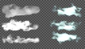 EPS 10. Fog or smoke transparent special effect. White vector cloudiness, mist or smog background. Vector illustration royalty free illustration