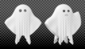 Ghost of Halloween party in white sheet on transparent background. Vector illustration Royalty Free Stock Images