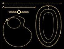 +EPS Goldketten, Halsketten stock abbildung