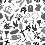 Άνευ ραφής σχέδιο eps10 συμβόλων θρησκείας χριστιανισμού grayscale Στοκ φωτογραφία με δικαίωμα ελεύθερης χρήσης