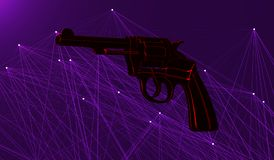 Gun with neon contours on the background of plexus Stock Photography