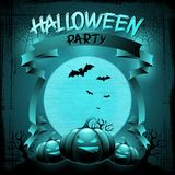 EPS 10 Halloween background with moon, bats and Stock Photo