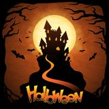 EPS 10 Halloween background with moon and bats Stock Photos
