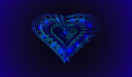 EPS 10. Happy Valentines Day. 3D illuminated neon heart of glowing particles and wireframe. Vector illustration. Royalty Free Stock Photography