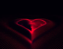 EPS 10. Happy Valentines Day. 3D illuminated neon heart of glowing particles and wireframe. Vector illustration. Happy Valentines Day. 3D illuminated neon heart Royalty Free Stock Photography